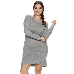 Juniors' Plus Size Almost Famous Asymmetrical Hem Hatchi Dress