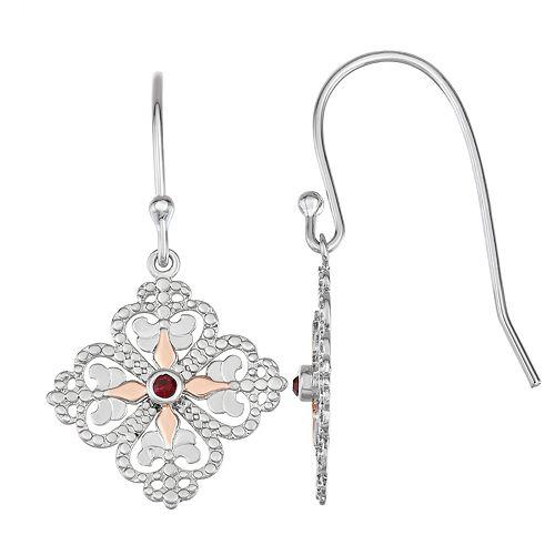 Sisterhood Sterling Silver Fleur-De-Lis Heart Earrings