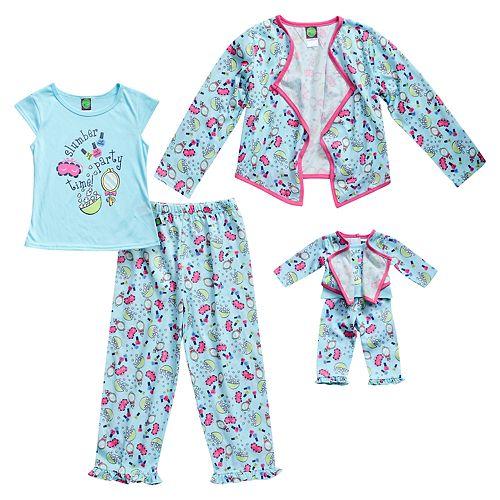 "Girls 4-14 Dollie & Me ""Slumber Party"" Jacket, Top & Bottoms Pajama Set"