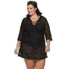 69bae6294c3 Plus Size Apt. 9® Hooded Lace-Up Cover-Up. Navy Black