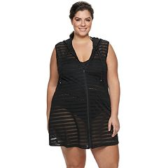 Plus Size Apt. 9® Shadow Stripe Zip-Front Cover-Up