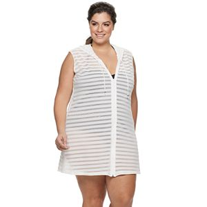 4cfd61ec33 Plus Size Beach Scene Hooded French Terry Cover-Up