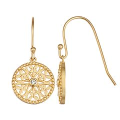 14k Gold Over Silver Circle Butterfly Earrings