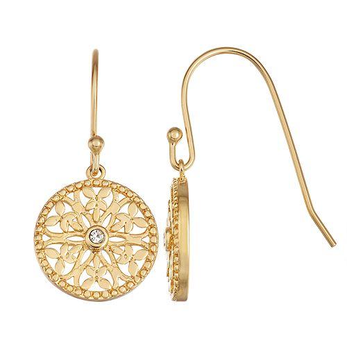 Sisterhood 14k Gold Over Silver Circle Butterfly Earrings