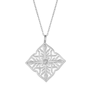 Sisterhood Sterling Silver Diamond-Shape Open Work Pendant Necklace