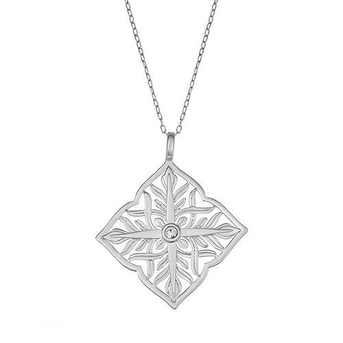 Sisterhood Sterling Silver Diamond-Shape Open Work Pendant Necklace