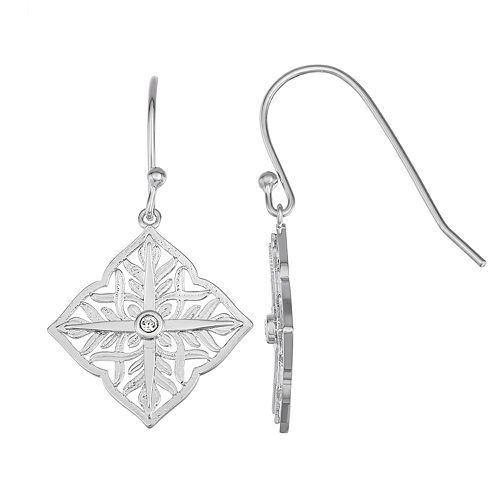 Sisterhood Sterling Silver Diamond-Shape Open Work Earrings