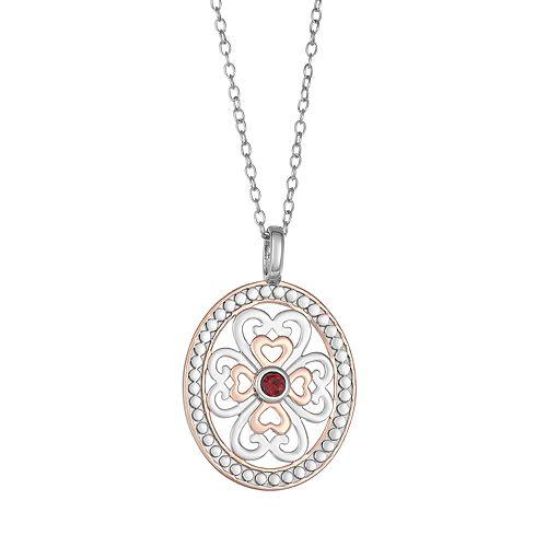Sisterhood Two-Tone Sterling Silver Oval Pendant Necklace