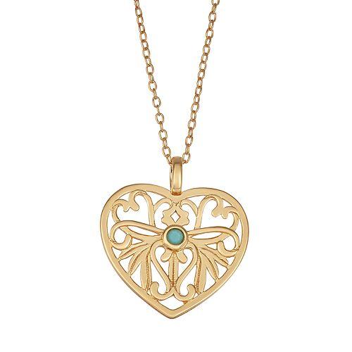 Sisterhood 14k Gold Over Silver Heart Necklace