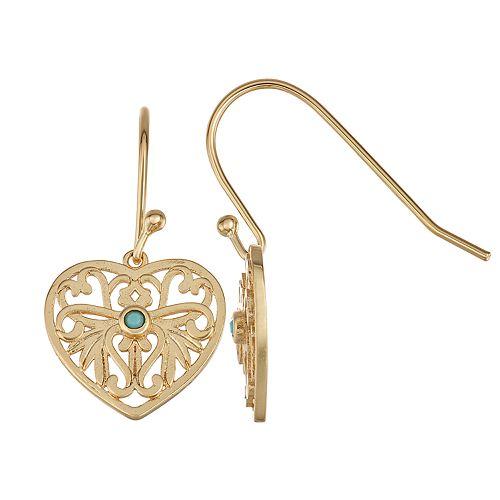 Sisterhood 14k Gold Over Silver Heart Earrings