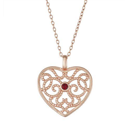 Sisterhood 14k Rose Gold Over Silver Open Work Heart Pendant Necklace