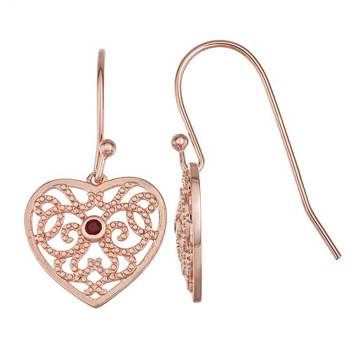 Sisterhood 14k Rose Gold Over Silver Heart Earrings