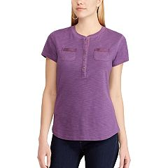 Women's Chaps Solid Henley Top