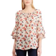 Women's Chaps Floral Ruffle-Sleeve Peasant Top