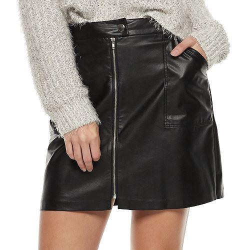 Juniors' Candie's® Zip-Front Patch-Pocket Skirt