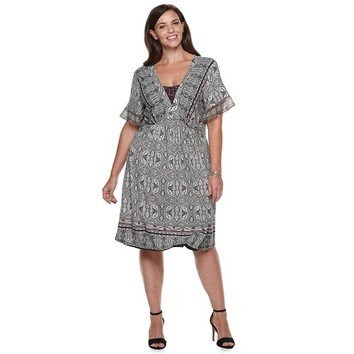 Plus Size World Unity Printed Flutter Sleeve Dress