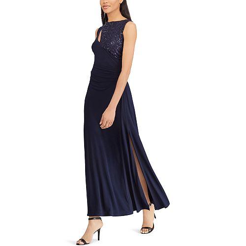 Women's Chaps Sequin Yoke Evening Gown