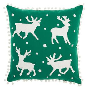 Mina Victory Reindeer Holiday Throw Pillow