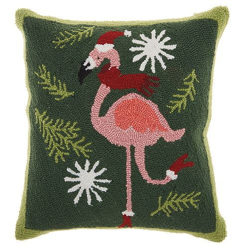 Mina Victory Flamingo Santa Christmas Throw Pillow