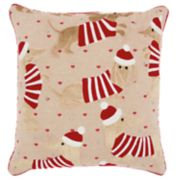 Mina Victory Dachshund Santa Christmas Throw Pillow
