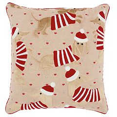Mina Victory Dachshund Santa Christmas Throw Pillow