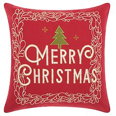 Mina Victory 'Merry Christmas' Tree Throw Pillow