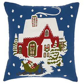 Mina Victory Santa Sleigh Christmas Throw Pillow