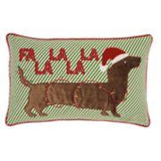 Mina Victory Dachshund Christmas Throw Pillow