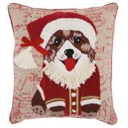 Mina Victory Santa Puppy Christmas Throw Pillow