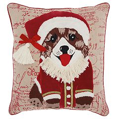 Mina Victory Santa Puppy Christmas Throw Pillow