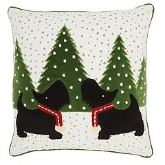 Mina Victory Scottish Terrier Holiday Throw Pillow
