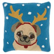 Mina Victory Pug Reindeer Christmas Throw Pillow