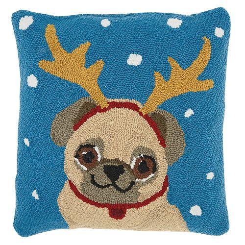 Mina Victory Pug Reindeer Christmas Throw Pillow
