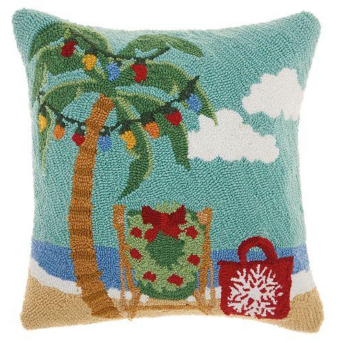 Mina Victory Palm Tree Christmas Throw Pillow
