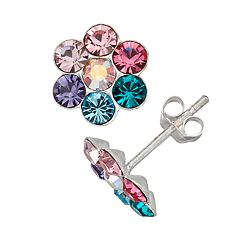 Charming Girl Kids' Sterling Silver Multicolor Crystal Flower Earrings