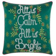 "Kathy Ireland ""All Is Calm"" Christmas Throw Pillow"