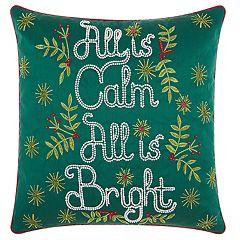 Kathy Ireland 'All Is Calm' Christmas Throw Pillow