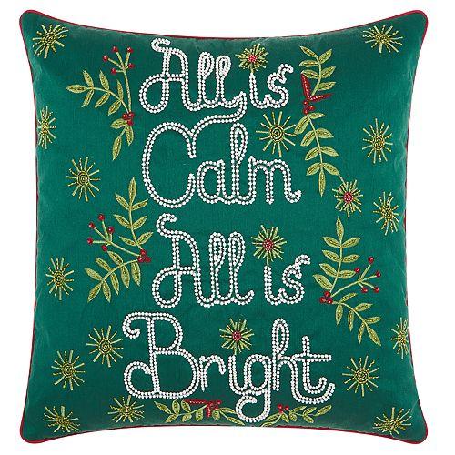 "Kathy Ireland ""All Is Calm"" Christmas Throw Pillow"