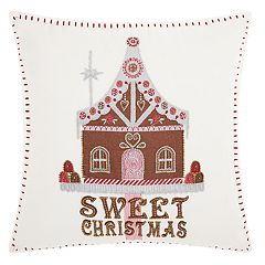 Kathy Ireland Gingerbread House Christmas Throw Pillow