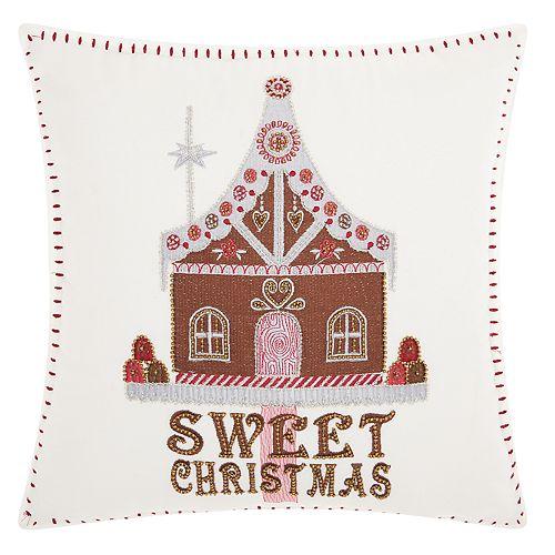 Kathy Ireland Gingerbread House Christmas Throw Pillow