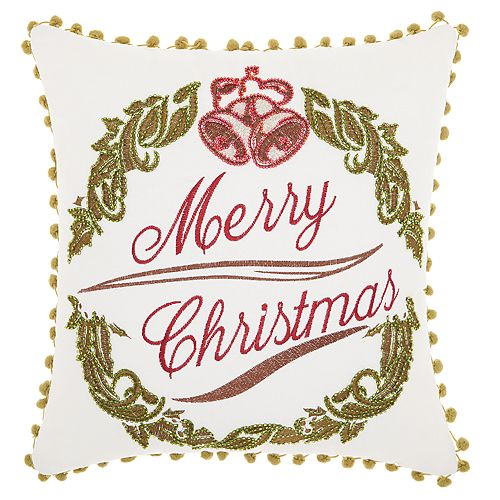 Kathy Ireland Wreath Christmas Throw Pillow