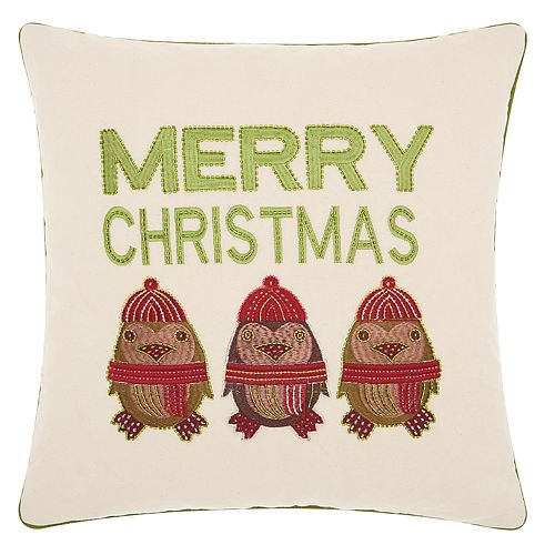 "Kathy Ireland Penguin ""Merry Christmas"" Throw Pillow"