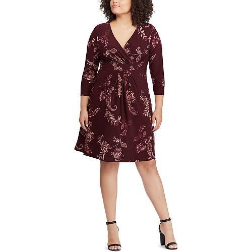 c7ec308345 Plus Size Chaps Floral Faux-Wrap Dress
