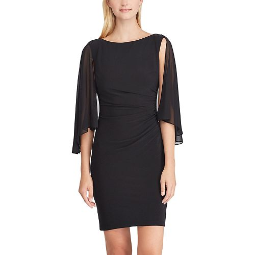 Women's Chaps Ruched Chiffon-Overlay Sheath Dress
