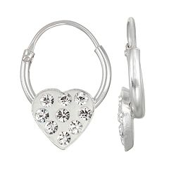 Charming Girl Kids' Sterling Silver Crystal Heart Drop Earrings