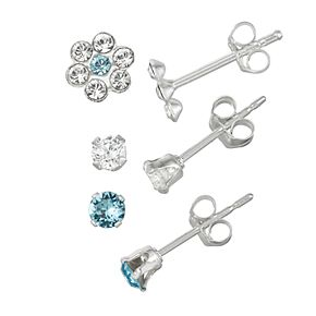 Charming Girl Kids' Sterling Silver 3-Pair Crystal Earring Set