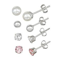 Charming Girl Kids' Sterling Silver Simulated Pearl & Crystal 4-Pair Earring Set