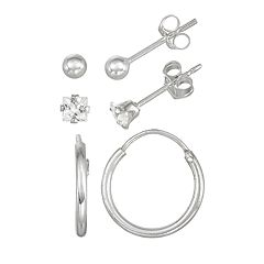 Charming Girl Kids' Sterling Silver Hoop, Ball & Crystal Stud Earring Set