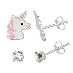 Charming Girl Kids' Sterling Silver Unicorn & Crystal Stud Earring Set