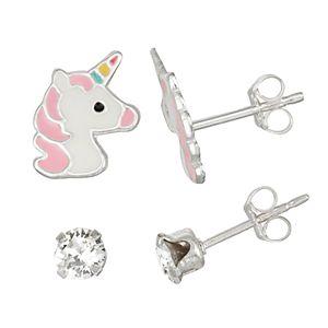 Charming Girl Kids' Sterling Silver Unicorn & Crystal Stud Earring Set